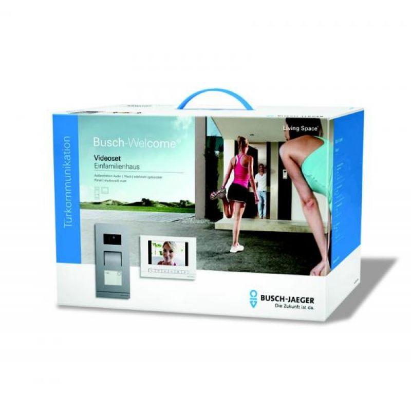 busch jaeger welcome 83022 1 video einfamilienhaus set mit edelstahl. Black Bedroom Furniture Sets. Home Design Ideas